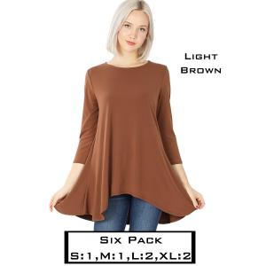 Wholesale   LIGHT BROWN (SIX PACK) High-Low 3/4 Sleeve Top 2367(1S,1M,2L,2XL) - 1 Small 1 Medium 2 Large 2 Extra Large