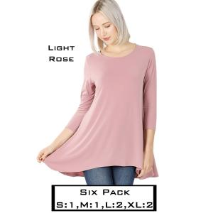 Wholesale   LIGHT ROSE (SIX PACK) High-Low 3/4 Sleeve Top 2367(1S,1M,2L,2XL) - 1 Small 1 Medium 2 Large 2 Extra Large