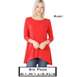 Wholesale   RUBY (SIX PACK) High-Low 3/4 Sleeve Top 2367(1S,1M,2L,2XL) - 1 Small 1 Medium 2 Large 2 Extra Large
