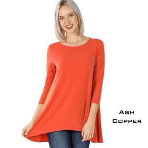 Wholesale  ASH COPPER Ity High-Low 3/4 Sleeve Top 2367 - Large
