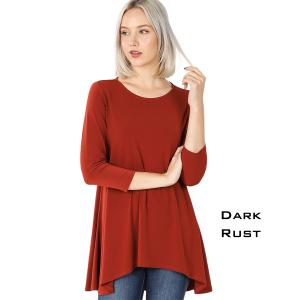 Wholesale  DARK RUST Ity High-Low 3/4 Sleeve Top 2367 - X-Large