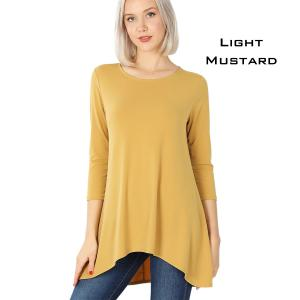 Wholesale  Light Mustard Ity High-Low 3/4 Sleeve Top 2367 - X-Large