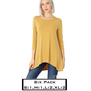 Wholesale   LIGHT MUSTARD (SIX PACK) High-Low 3/4 Sleeve Top 2367(1S,1M,2L,2XL) - 1 Small 1 Medium 2 Large 2 Extra Large