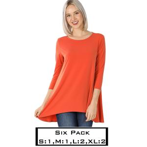 Wholesale   ASH COPPER (SIX PACK) High-Low 3/4 Sleeve Top 2367(1S,1M,2L,2XL) - 1 Small 1 Medium 2 Large 2 Extra Large
