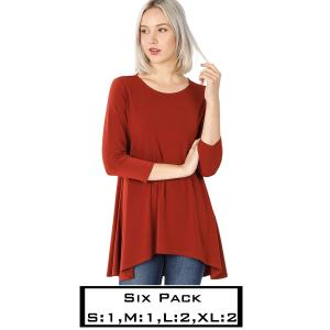 Wholesale   DARK RUST (SIX PACK) High-Low 3/4 Sleeve Top 2367(1S,1M,2L,2XL) - 1 Small 1 Medium 2 Large 2 Extra Large
