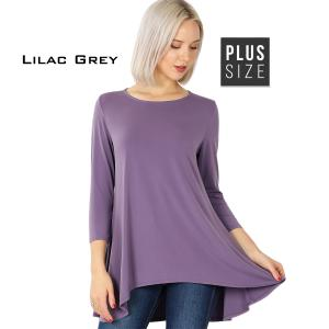 Wholesale  LILAC GREY PLUS SIZE Ity High-Low 3/4 Sleeve Top 2367 - 1X