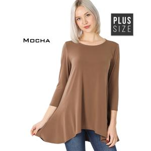 Wholesale  MOCHA PLUS SIZE Ity High-Low 3/4 Sleeve Top 2367 - 1X