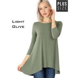 Wholesale  LIGHT OLIVE PLUS SIZE Ity High-Low 3/4 Sleeve Top 2367 - 1X