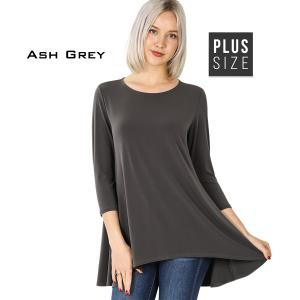Wholesale  ASH GREY PLUS SIZE Ity High-Low 3/4 Sleeve Top 2367 - 2X