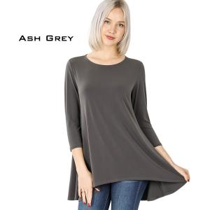 Wholesale  ASH GREY Ity High-Low 3/4 Sleeve Top 2367 - X-Large