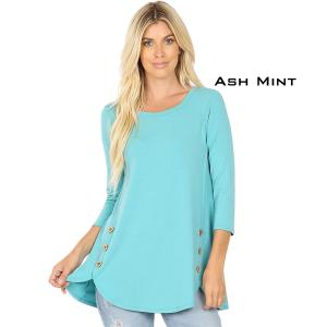 Wholesale  ASH MINT 3/4 Sleeve Side Wood Buttons Top 2032 - X-Large