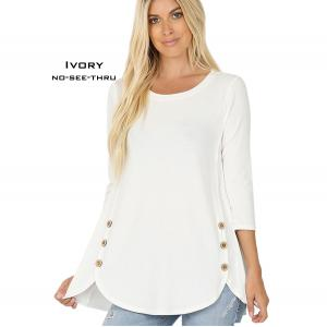 Wholesale  IVORY 3/4 Sleeve Side Wood Buttons Top 2032 - Large