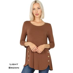 Wholesale  LIGHT BROWN 3/4 Sleeve Side Wood Buttons Top 2032 - Medium