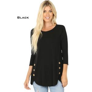 Wholesale  BLACK 3/4 Sleeve Side Wood Buttons Top 2032 - Small