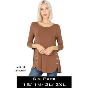 Wholesale   LIGHT BROWN (SIX PACK) 3/4 Sleeve Side Wood Buttons Top 2032(1S,1M,2L,2XL) - 1 Small 1 Medium 2 Large 2 Extra Large