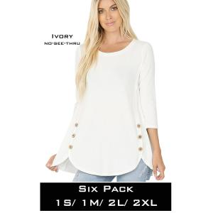 Wholesale   IVORY(SIX PACK) 3/4 Sleeve Side Wood Buttons Top 2032(1S,1M,2L,2XL) - 1 Small 1 Medium 2 Large 2 Extra Large