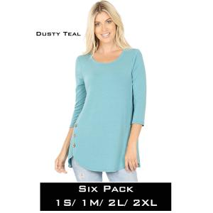 Wholesale   DUSTY TEAL (SIX PACK) 3/4 Sleeve Side Wood Buttons Top 2032(1S,1M,2L,2XL) - 1 Small 1 Medium 2 Large 2 Extra Large
