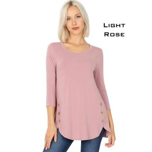 Wholesale  LIGHT ROSE 3/4 Sleeve Side Wood Buttons Top 2032 - Medium