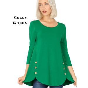 Wholesale  KELLY GREEN 3/4 Sleeve Side Wood Buttons Top 2032 - X-Large