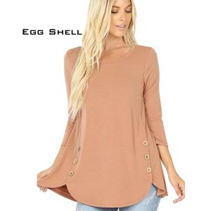 Wholesale  EGG SHELL 3/4 Sleeve Side Wood Buttons Top 2032 - X-Large