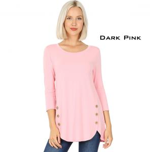 Wholesale  PINK 3/4 Sleeve Side Wood Buttons Top 2032 - X-Large