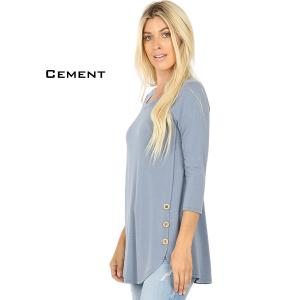 Wholesale  CEMENT 3/4 Sleeve Side Wood Buttons Top 2032 - Large