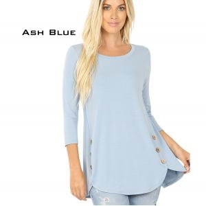 Wholesale  ASH BLUE 3/4 Sleeve Side Wood Buttons Top 2032 - Medium