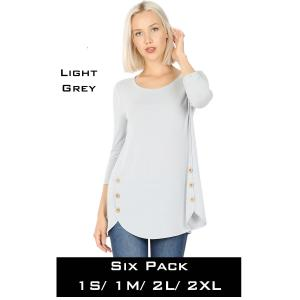Wholesale   LIGHT GREY (SIX PACK) 3/4 Sleeve Side Wood Buttons Top 2032(1S,1M,2L,2XL) - 1 Small 1 Medium 2 Large 2 Extra Large