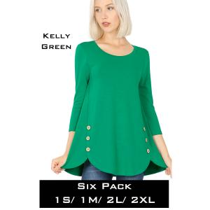 Wholesale   KELLY GREEN (SIX PACK) 3/4 Sleeve Side Wood Buttons Top 2032(1S,1M,2L,2XL) - 1 Small 1 Medium 2 Large 2 Extra Large