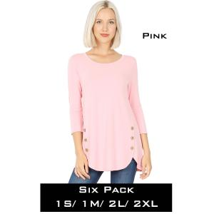 Wholesale   PINK (SIX PACK) 3/4 Sleeve Side Wood Buttons Top 2032(1S,1M,2L,2XL) - 1 Small 1 Medium 2 Large 2 Extra Large