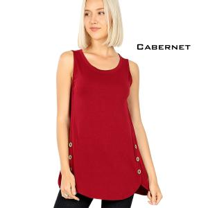 Wholesale  CABERNET Sleeveless Side Wood Button Top 2030 - Medium