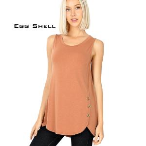 Wholesale  EGG SHELL Sleeveless Side Wood Button Top 2030 - Medium