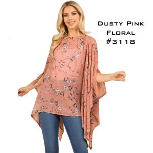 Wholesale  DUSTY PINK FLORAL Chiffon Poncho 3118 -