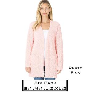 Wholesale   DUSTY PINK (SIX PACK) Popcorn Cardigan w/Pockets 1938 (1S,1M,2L,2XL) - 1 Small 1 Medium 2 Large 2 Extra Large