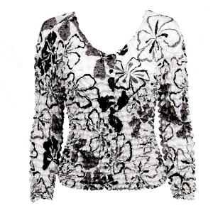 wholesale Gourmet Popcorn - Collarless Cardigan White-Black-Grey Flowers - One Size (S-XL)