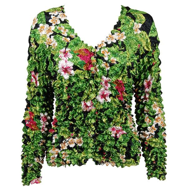 Wholesale Gourmet Popcorn - Collarless Cardigan Tropical Floral - Green - One Size (S-XL)