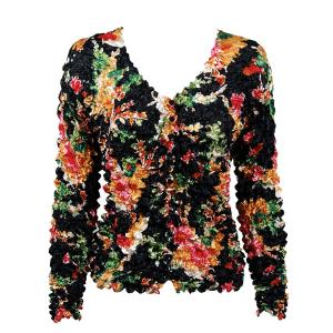 wholesale Gourmet Popcorn - Collarless Cardigan Bright Floral on Black - One Size (S-XL)