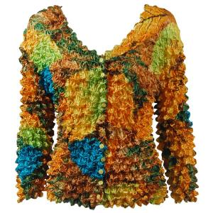 wholesale Gourmet Popcorn - Collarless Cardigan Leaves Turquoise-Green-Copper - One Size (S-XL)