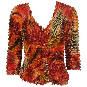 wholesale Gourmet Popcorn - Collarless Cardigan Abstract Zebra Red-Orange - One Size (S-XL)