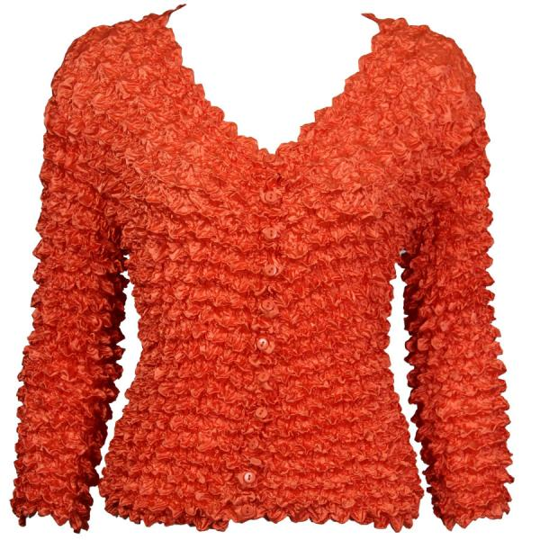 Wholesale Gourmet Popcorn - Collarless Cardigan Orange  - One Size (S-XL)