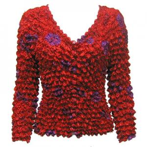 wholesale Red Hatters Selections Popcorn - Gourmet Cardigan Collarless Red Garden - One Size (S-XL)