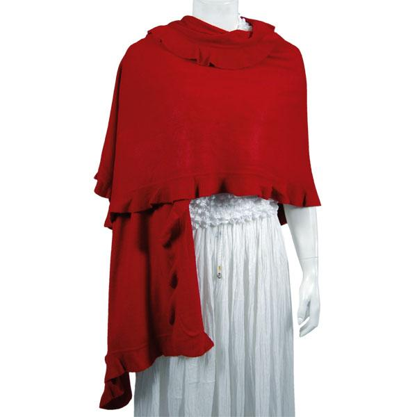 Wholesale Red Hatters Selections Shawl - Ruffle Knit - Red -