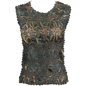 Wholesale Origami - Sleeveless Dark Olive Brown - Gold Tone - One Size (S-XL)