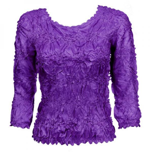 Wholesale Origami - Three Quarter Sleeve Solid Purple - One Size (S-XL)