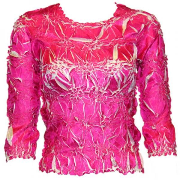Wholesale Origami - Three Quarter Sleeve Pink - White - Queen Size Fits (XL-3X)