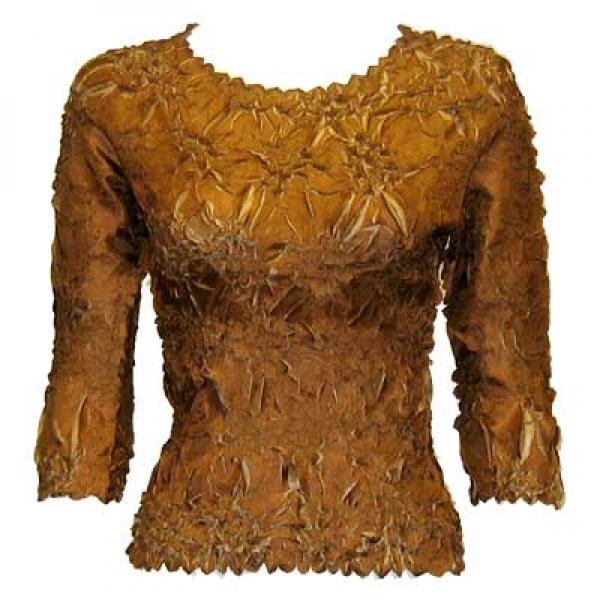 Wholesale Origami - Three Quarter Sleeve Caramel - Taupe - Queen Size Fits (XL-3X)