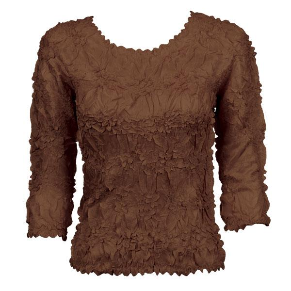 Wholesale Origami - Three Quarter Sleeve Solid Brown - Queen Size Fits (XL-3X)