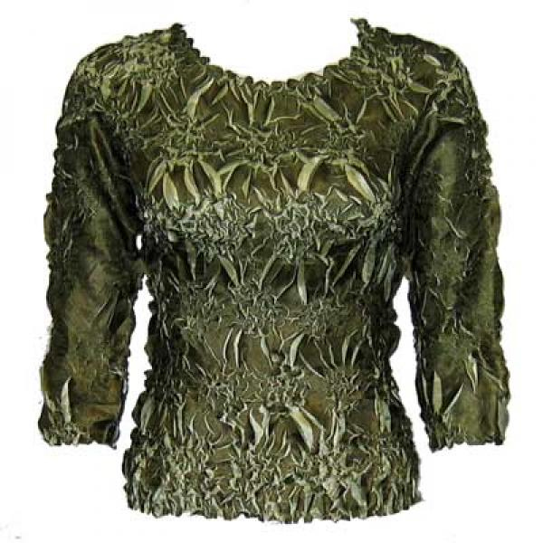 Wholesale Origami - Three Quarter Sleeve Olive - Light Green - Queen Size Fits (XL-3X)