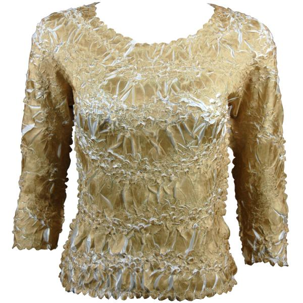 Wholesale Origami - Three Quarter Sleeve Light Gold - White - One Size (S-XL)