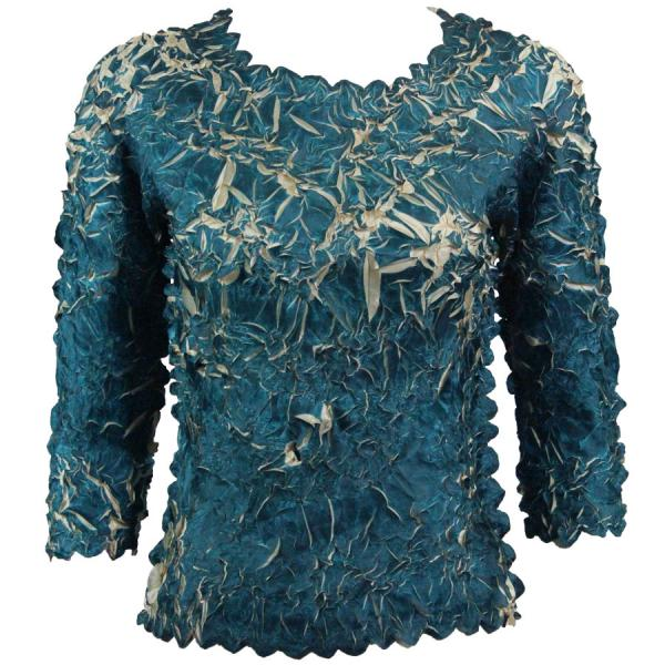 Wholesale Origami - Three Quarter Sleeve Deep Teal - Light Gold - One Size (S-XL)